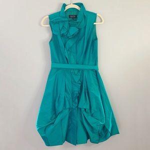 Teri Jon | Dress Aqua Taffeta Rose Appliqué Belt